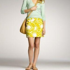 J Crew Yellow Floral Sunburst Mod Mini Skirt